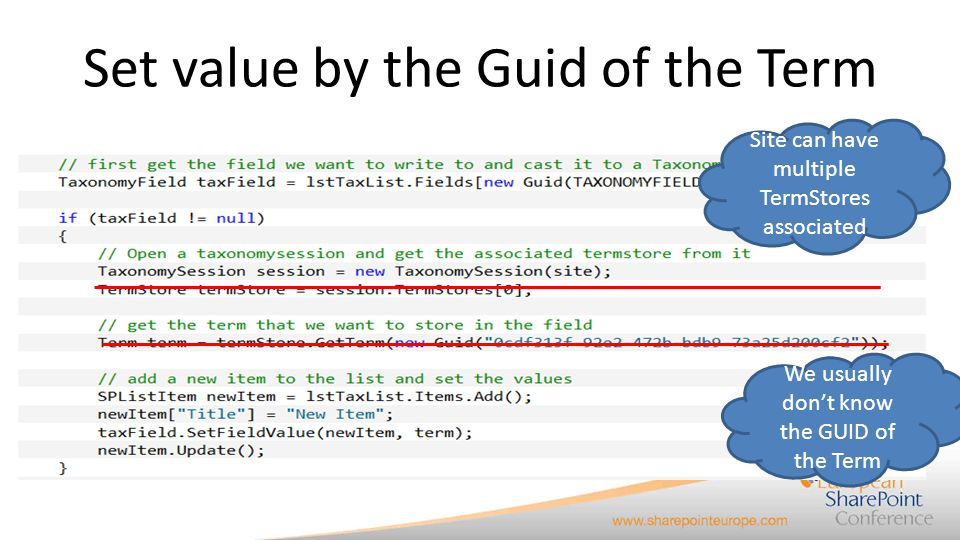 Set value by the Guid of the Term