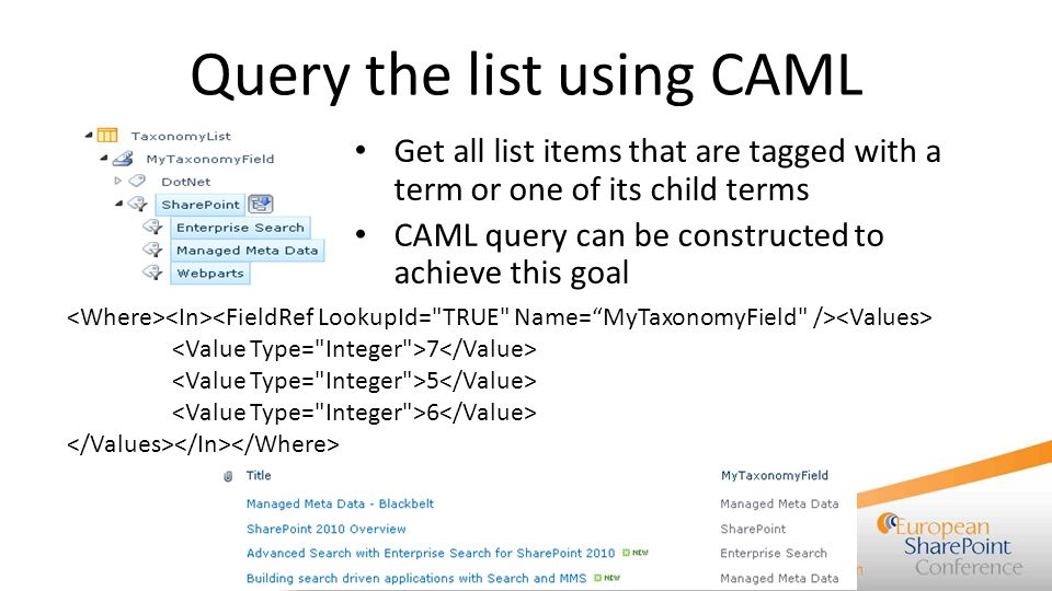 Query the list using CAML