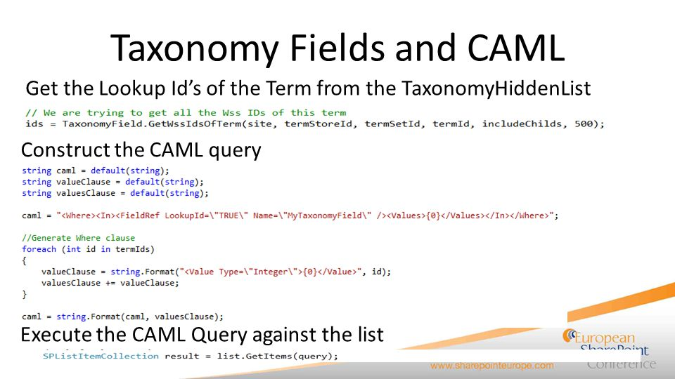 Taxonomy Fields and CAML