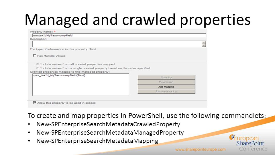Managed and crawled properties