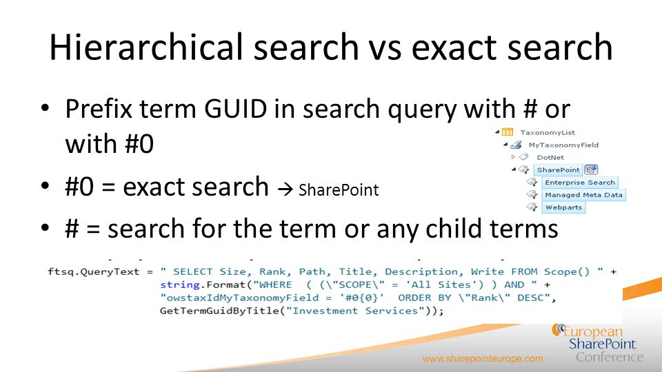 Hierarchical search vs exact search