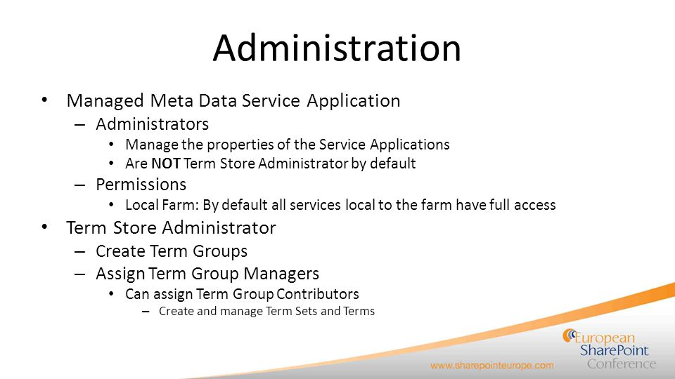 Administration Managed Meta Data Service Application