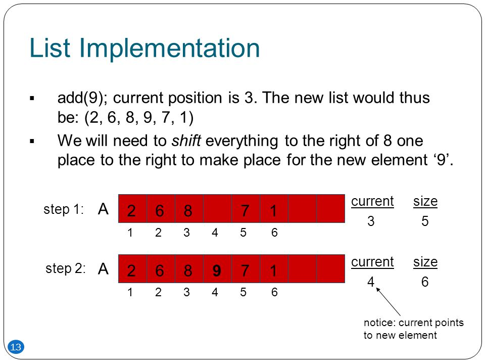 List Implementation add(9); current position is 3. The new list would thus be: (2, 6, 8, 9, 7, 1)