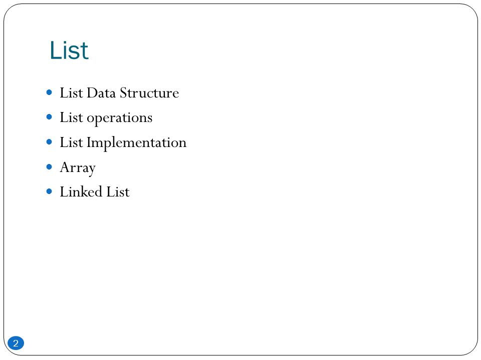 List List Data Structure List operations List Implementation Array