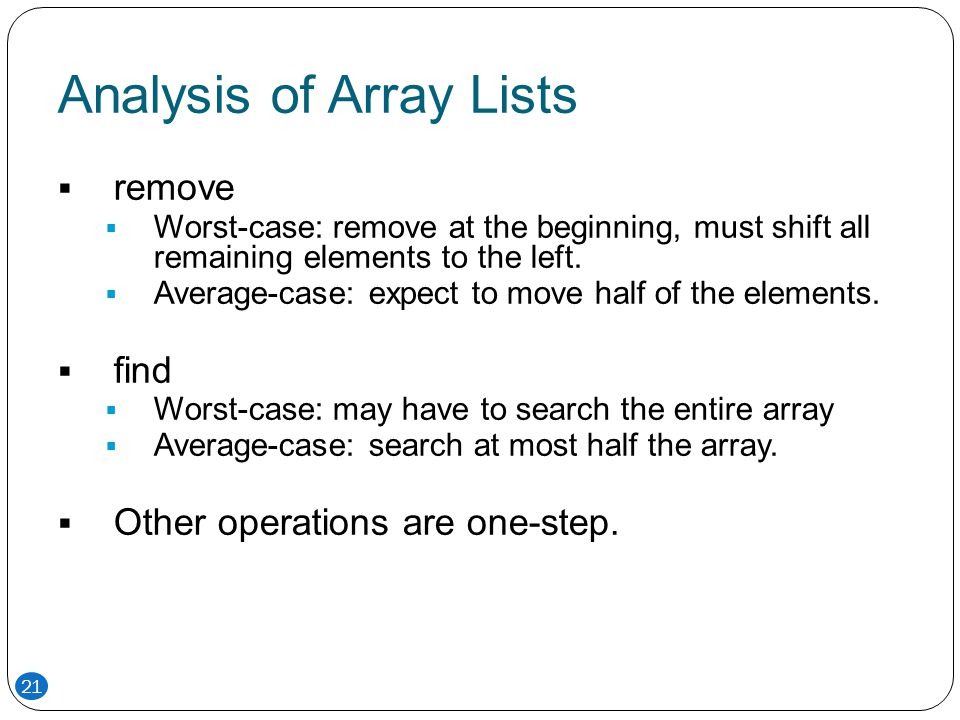 Analysis of Array Lists