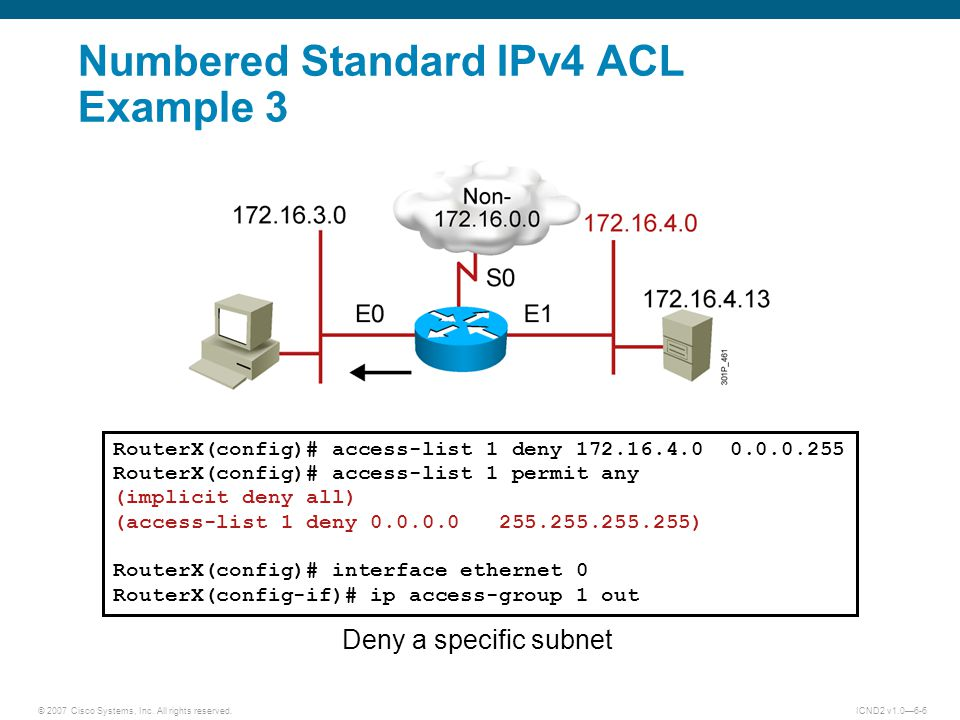 Numbered Standard IPv4 ACL Example 3