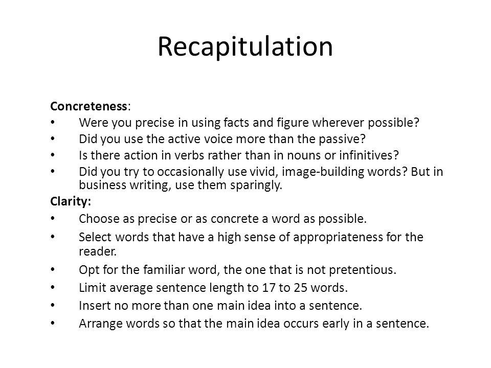 Recapitulation Concreteness: