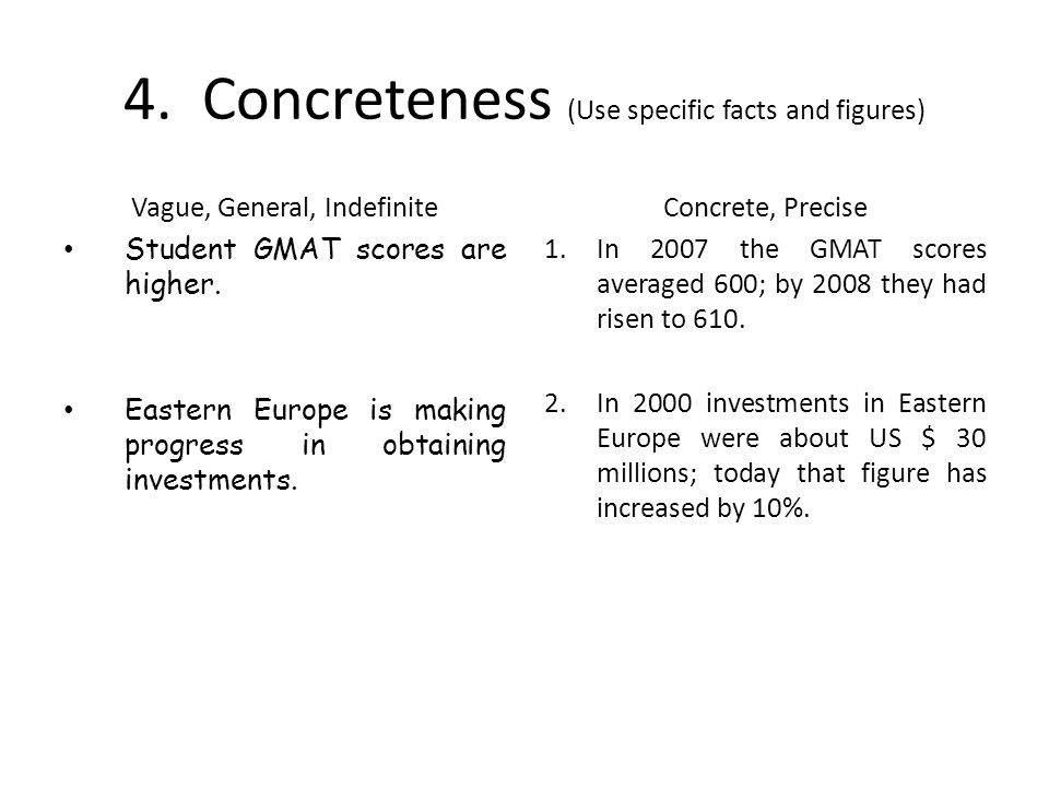 4. Concreteness (Use specific facts and figures)