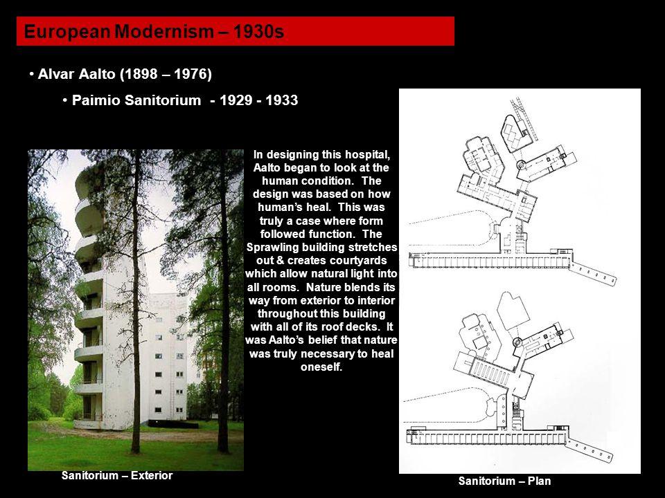 European Modernism – 1930s Alvar Aalto (1898 – 1976)