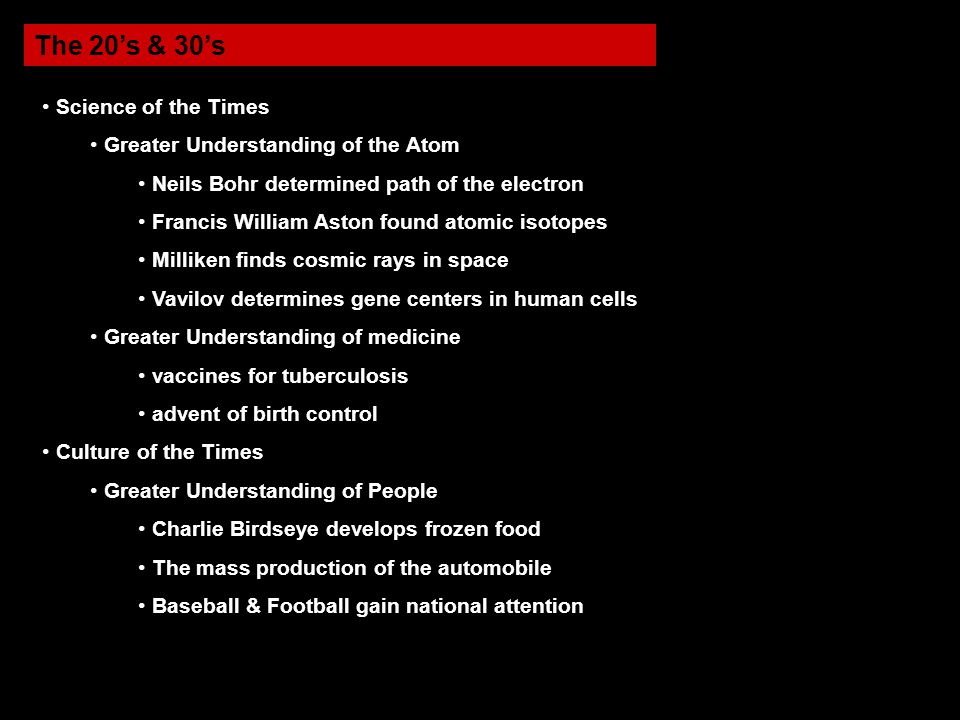 The 20's & 30's Science of the Times Greater Understanding of the Atom