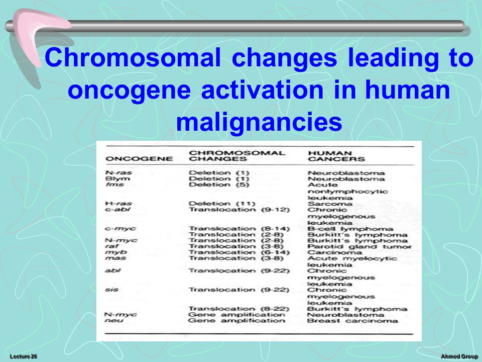 Chromosomal changes leading to oncogene activation in human malignancies