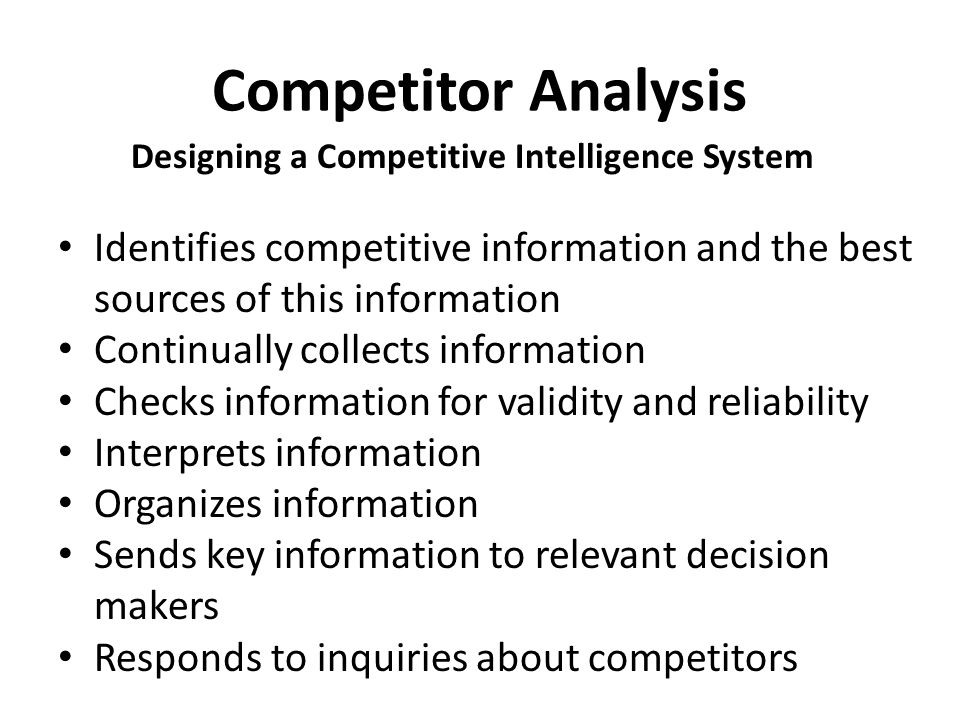 Designing a Competitive Intelligence System