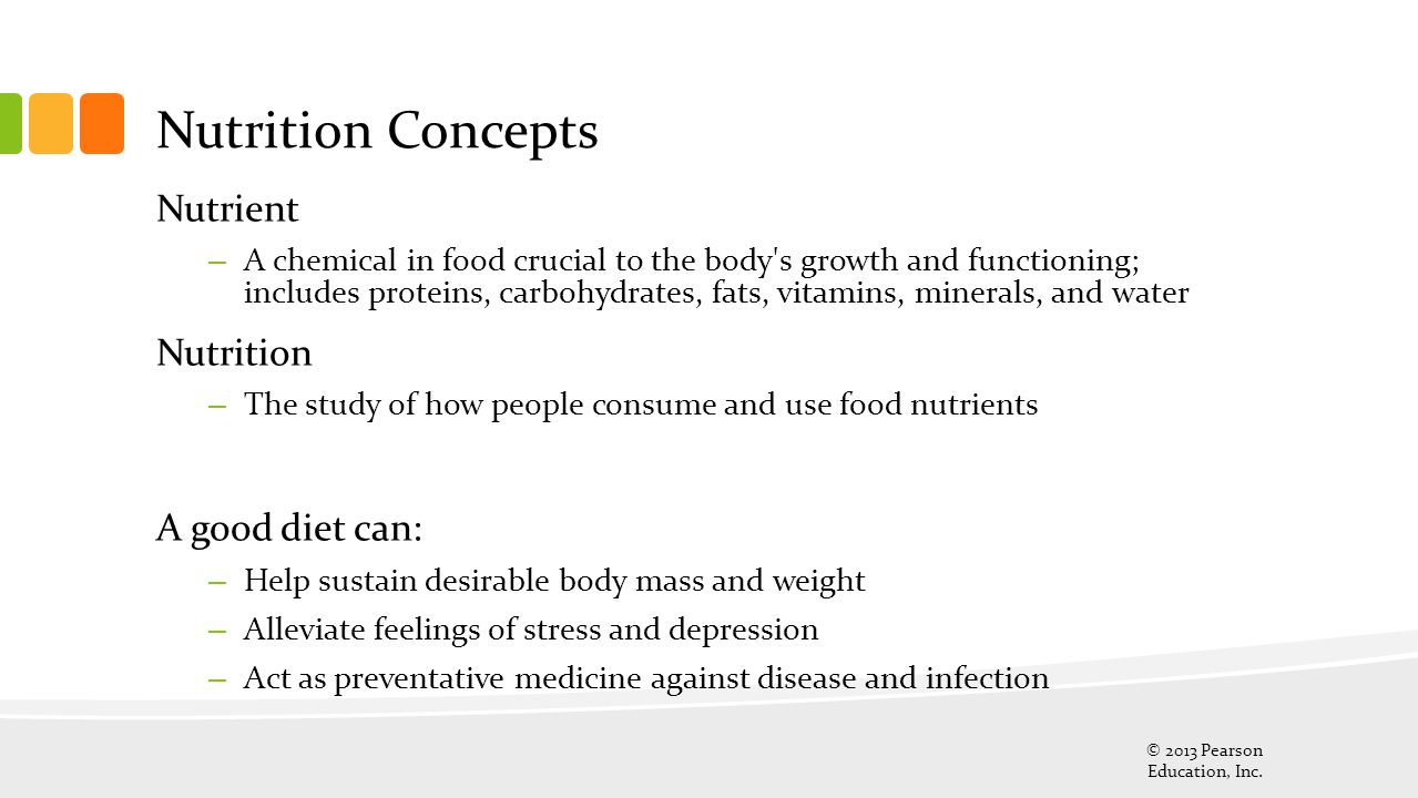 Nutrition Concepts Nutrient Nutrition A good diet can: