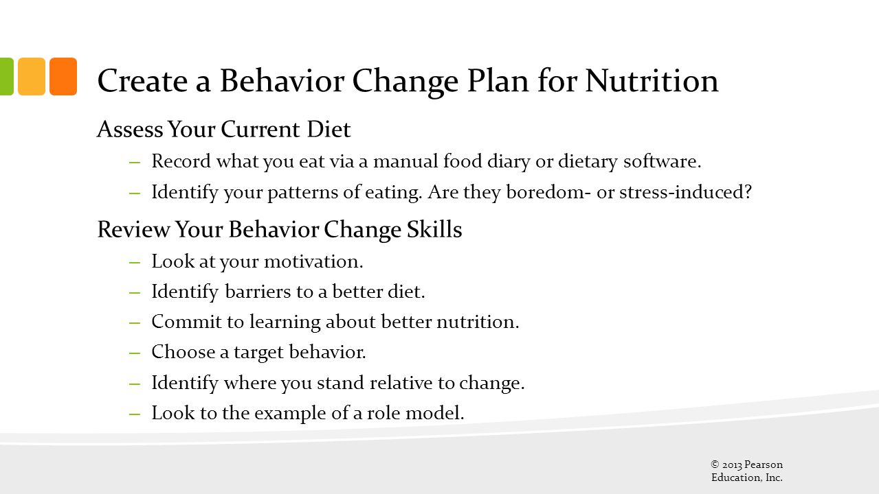 Create a Behavior Change Plan for Nutrition