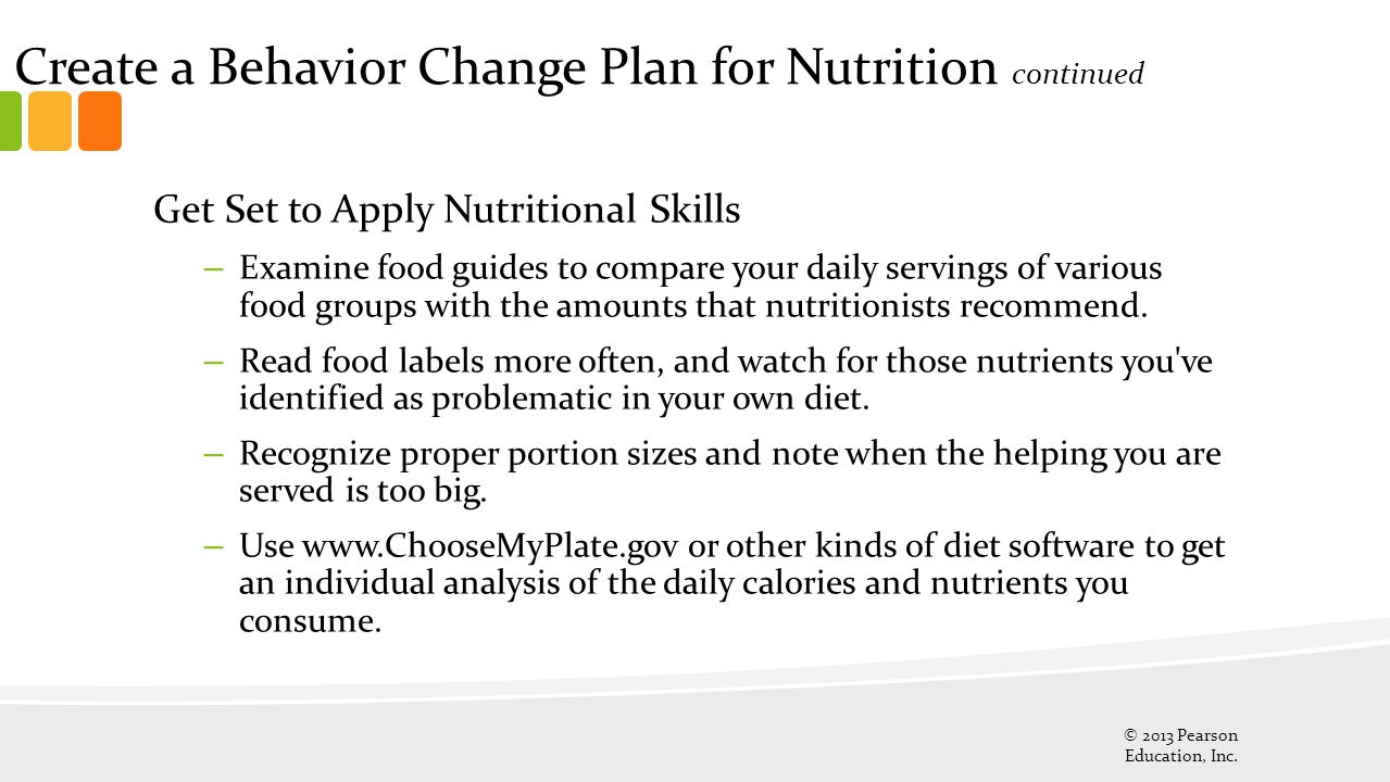 Create a Behavior Change Plan for Nutrition continued