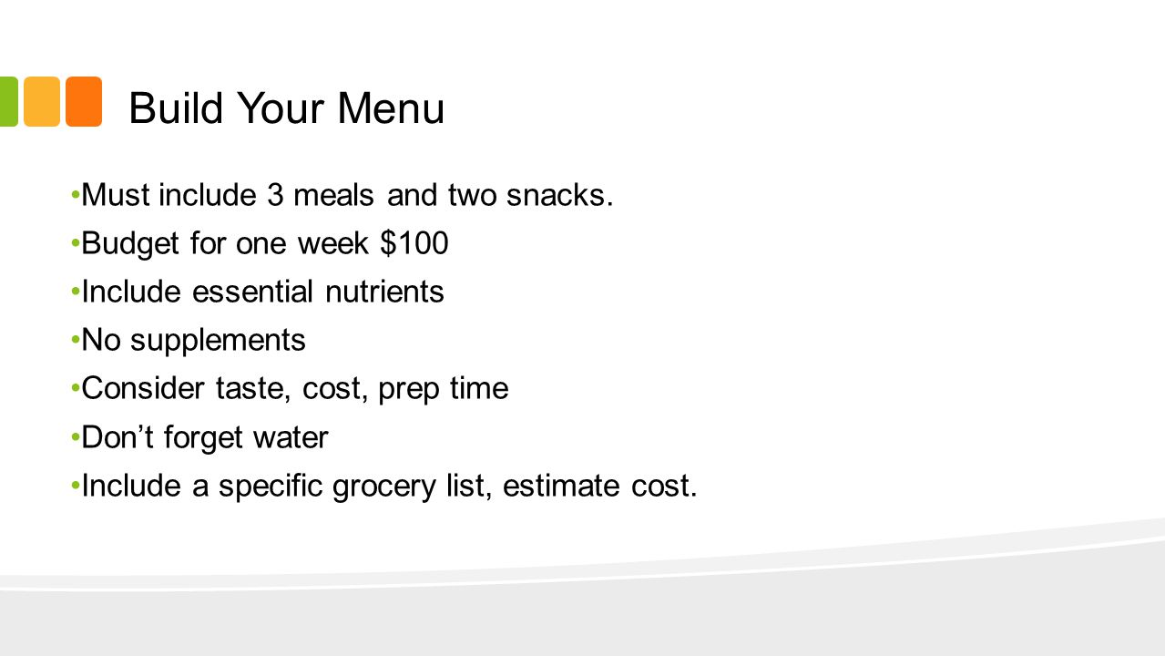 Build Your Menu 3 meals/2 snacks per day