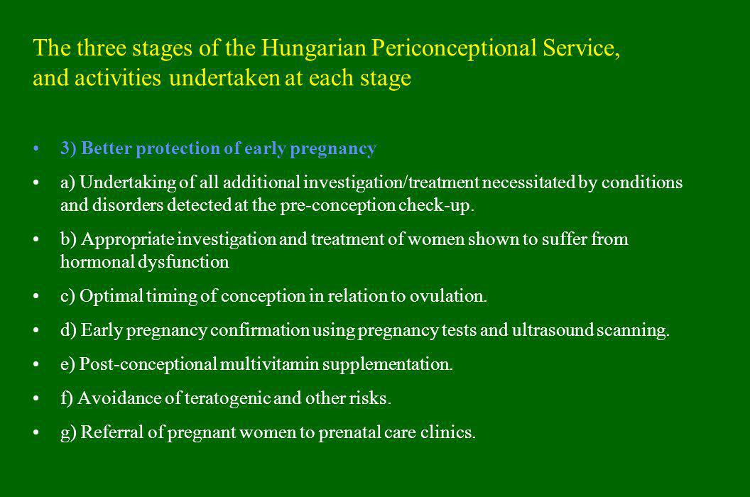 The three stages of the Hungarian Periconceptional Service, and activities undertaken at each stage