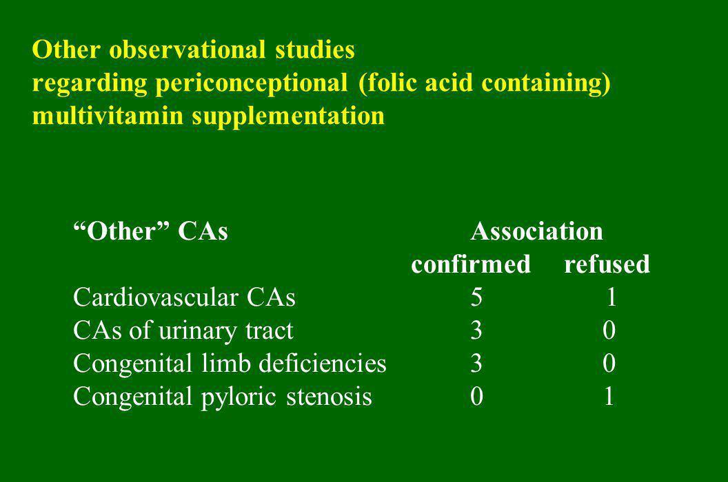 Congenital limb deficiencies 3 0 Congenital pyloric stenosis 0 1