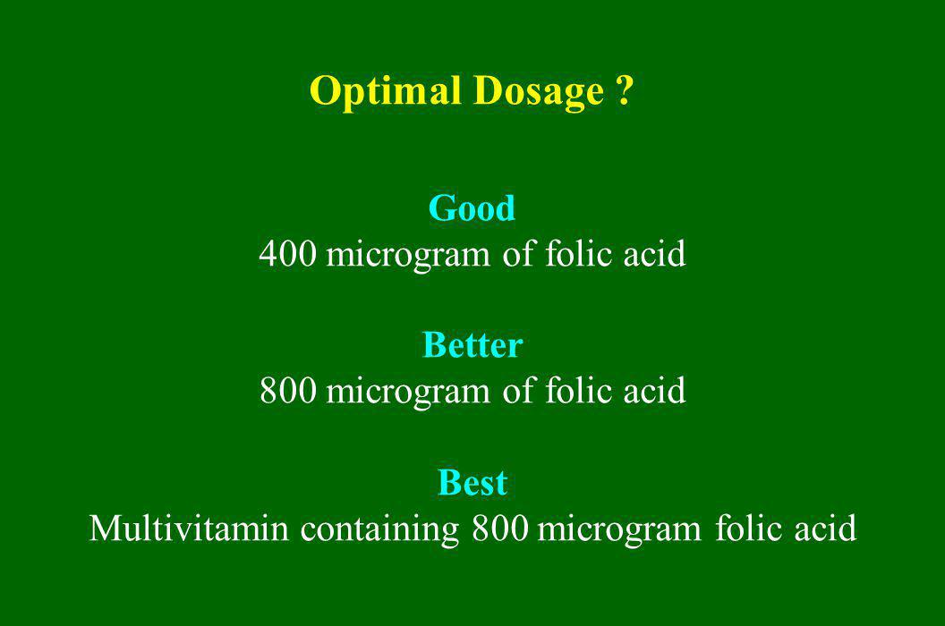 Optimal Dosage Good 400 microgram of folic acid Better