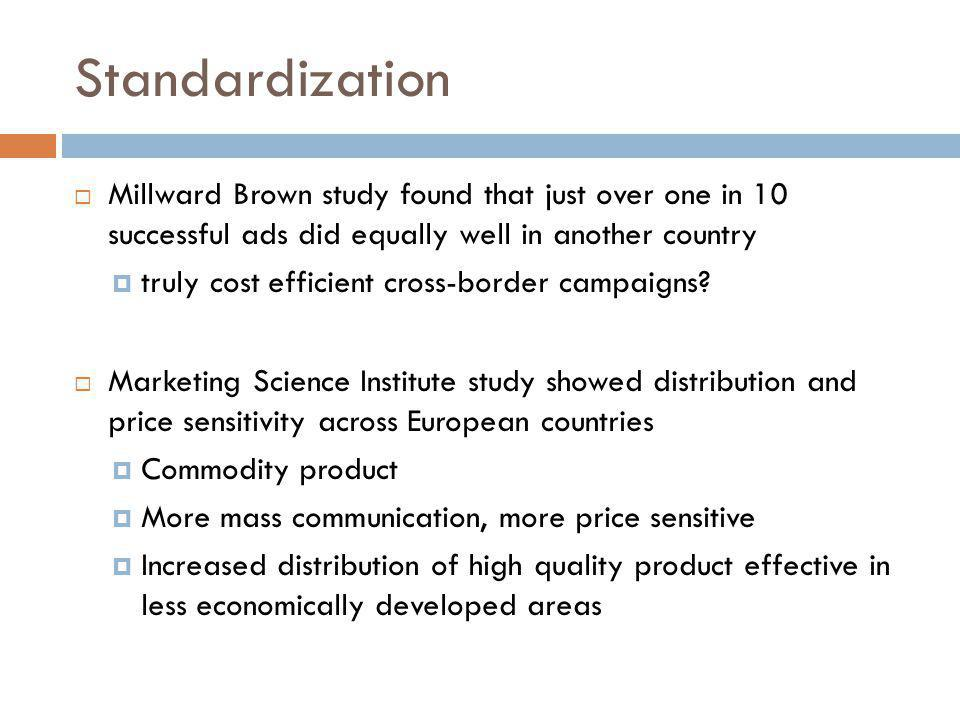 Standardization Millward Brown study found that just over one in 10 successful ads did equally well in another country.