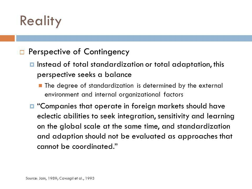 Reality Perspective of Contingency