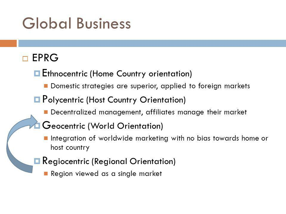 Global Business EPRG Ethnocentric (Home Country orientation)