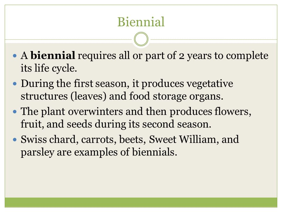 Biennial A biennial requires all or part of 2 years to complete its life cycle.