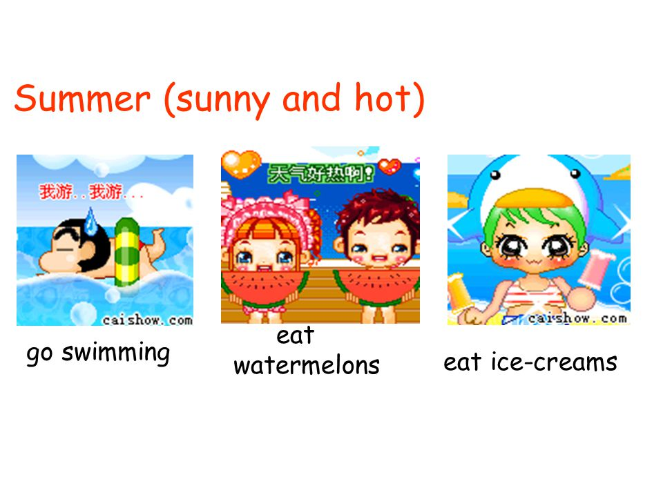 Summer (sunny and hot) eat watermelons go swimming eat ice-creams