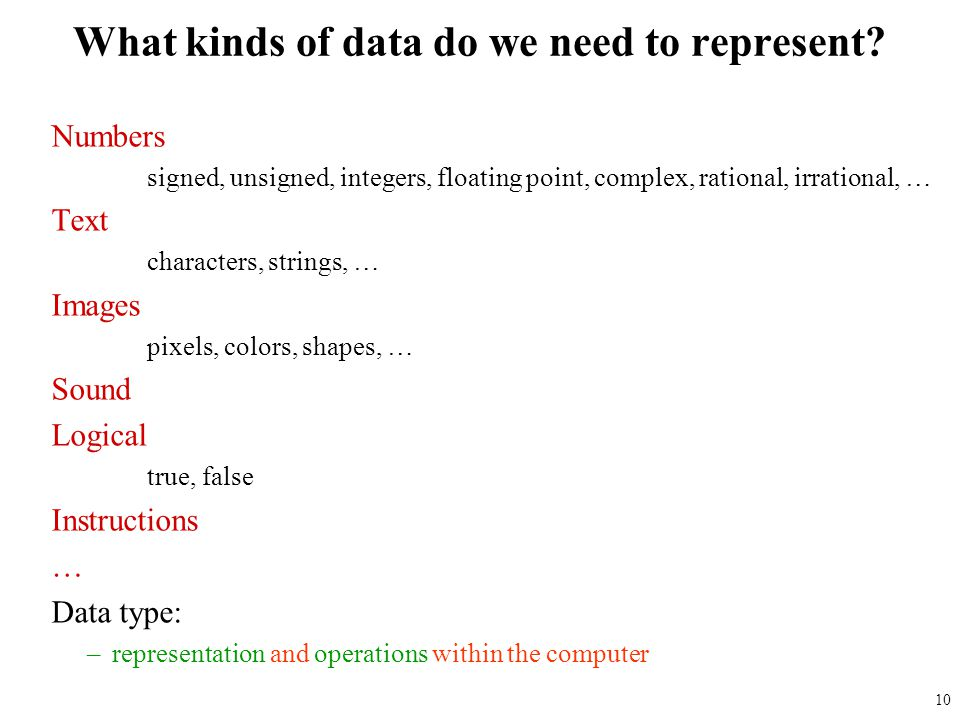 What kinds of data do we need to represent