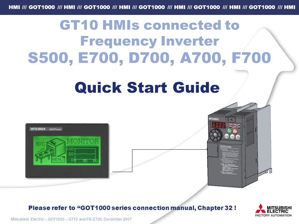 GT10 HMIs Connected To Frequency Inverter S500 E700 D700 A700 F700