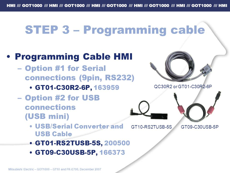STEP 3 – Programming cable