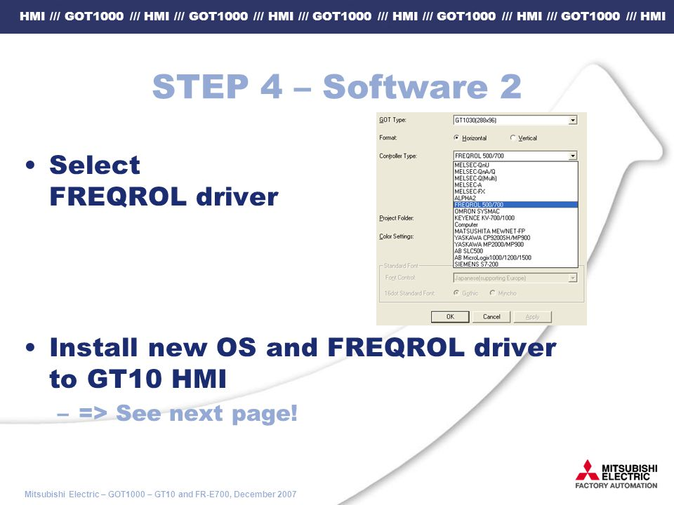 STEP 4 – Software 2 Select FREQROL driver