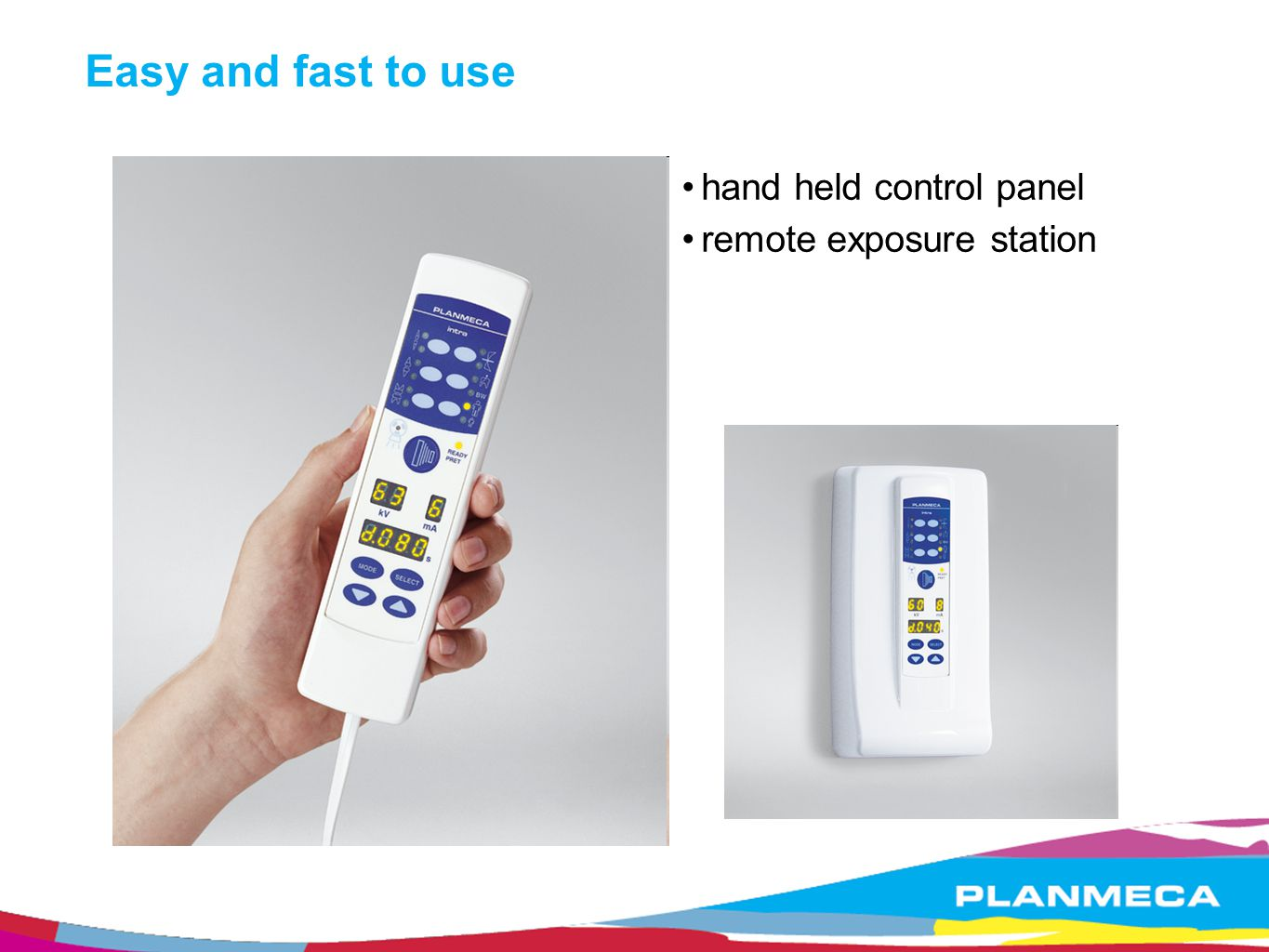 Easy and fast to use hand held control panel remote exposure station