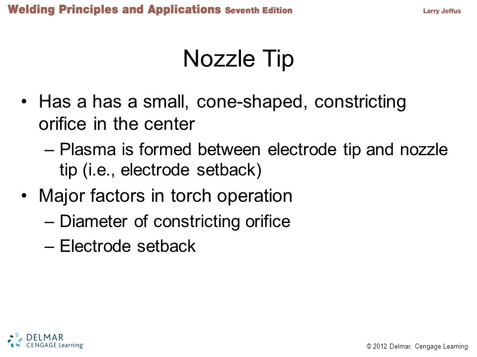Nozzle Tip Has a has a small, cone-shaped, constricting orifice in the center.