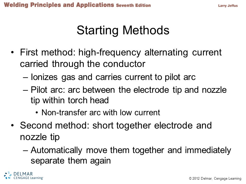 Starting Methods First method: high-frequency alternating current carried through the conductor. Ionizes gas and carries current to pilot arc.
