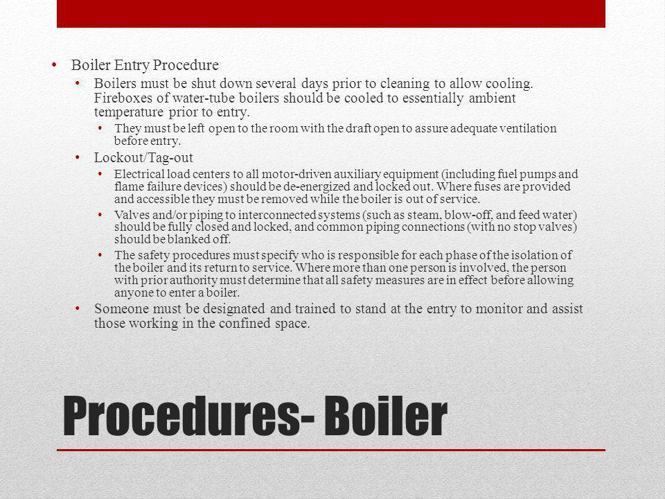 Procedures- Boiler Boiler Entry Procedure