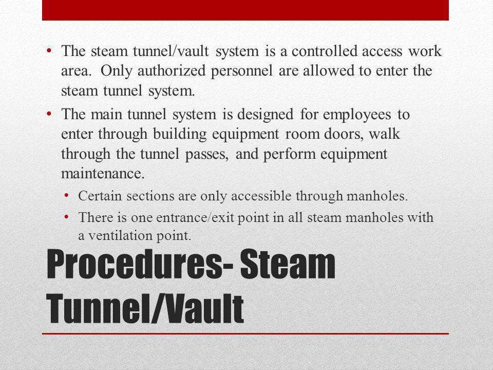 Procedures- Steam Tunnel/Vault