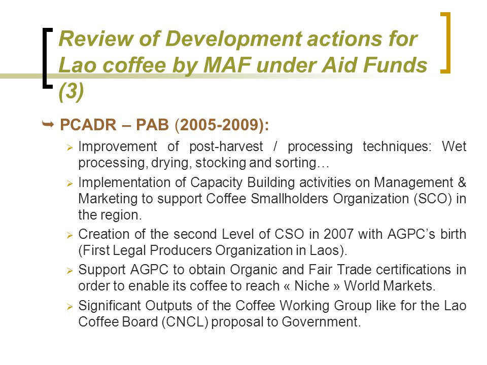 Review of Development actions for Lao coffee by MAF under Aid Funds (3)
