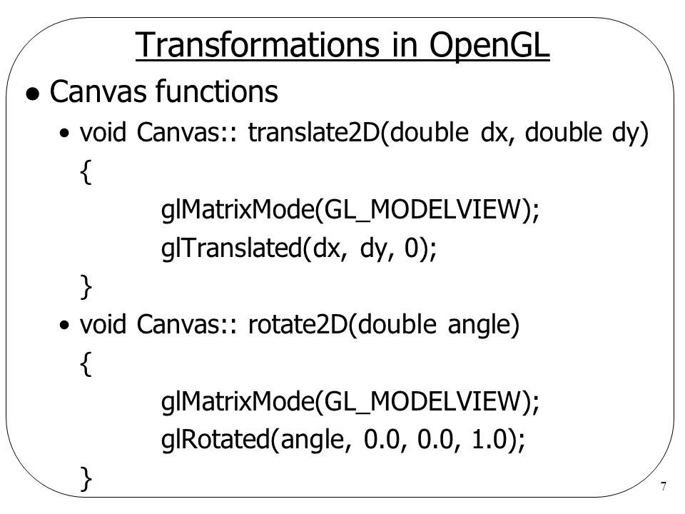 Transformations in OpenGL