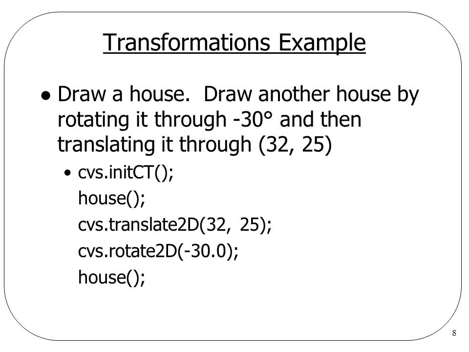 Transformations Example