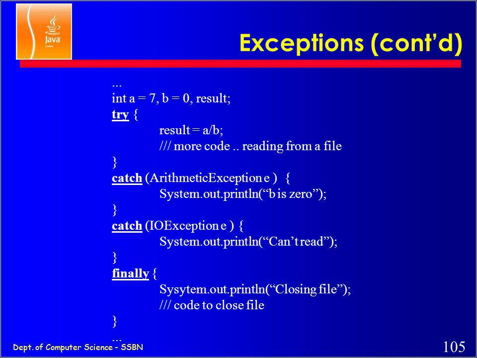Exceptions (cont'd) ... int a = 7, b = 0, result; try { result = a/b;