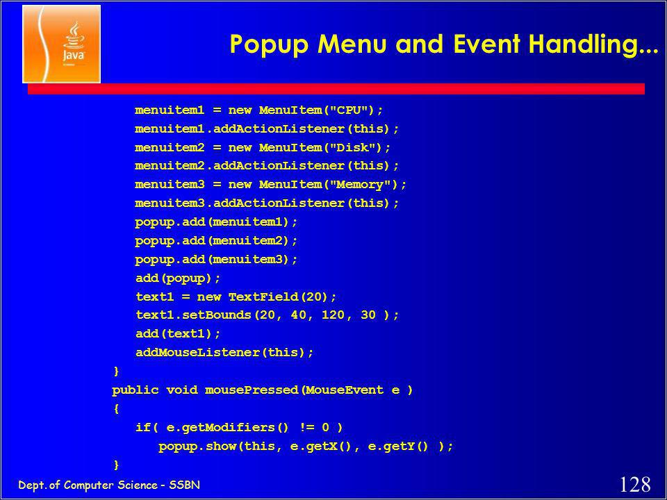 Popup Menu and Event Handling...