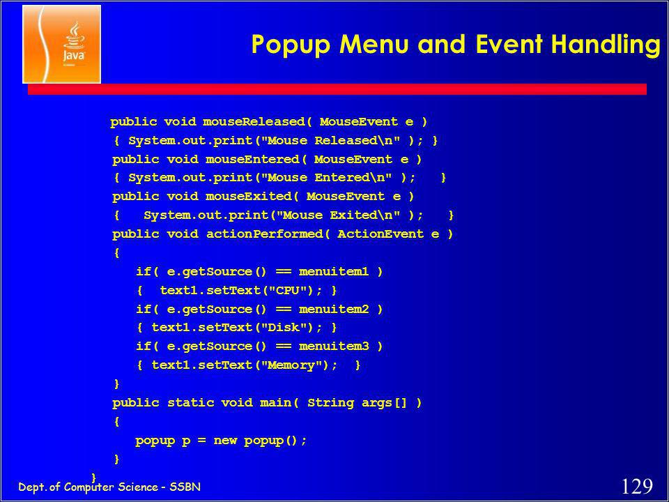 Popup Menu and Event Handling
