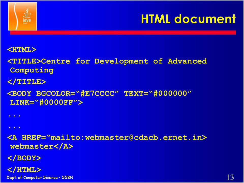 HTML document <HTML>