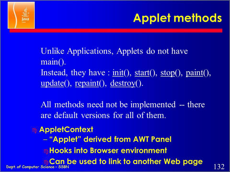 Applet methods Unlike Applications, Applets do not have main().
