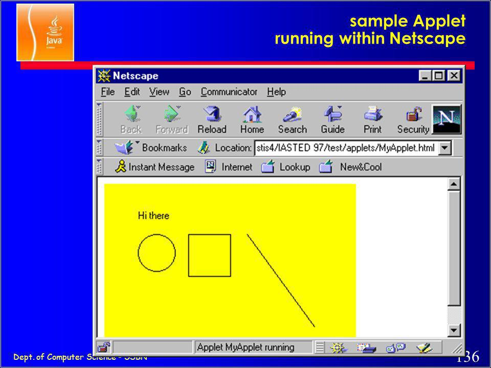 sample Applet running within Netscape