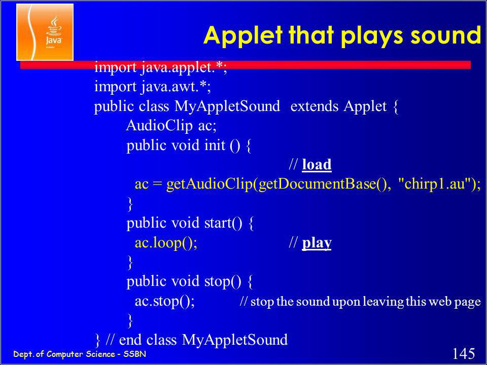 Applet that plays sound