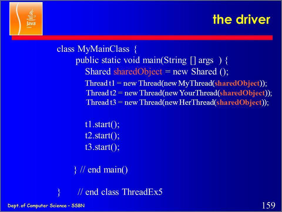 the driver class MyMainClass {