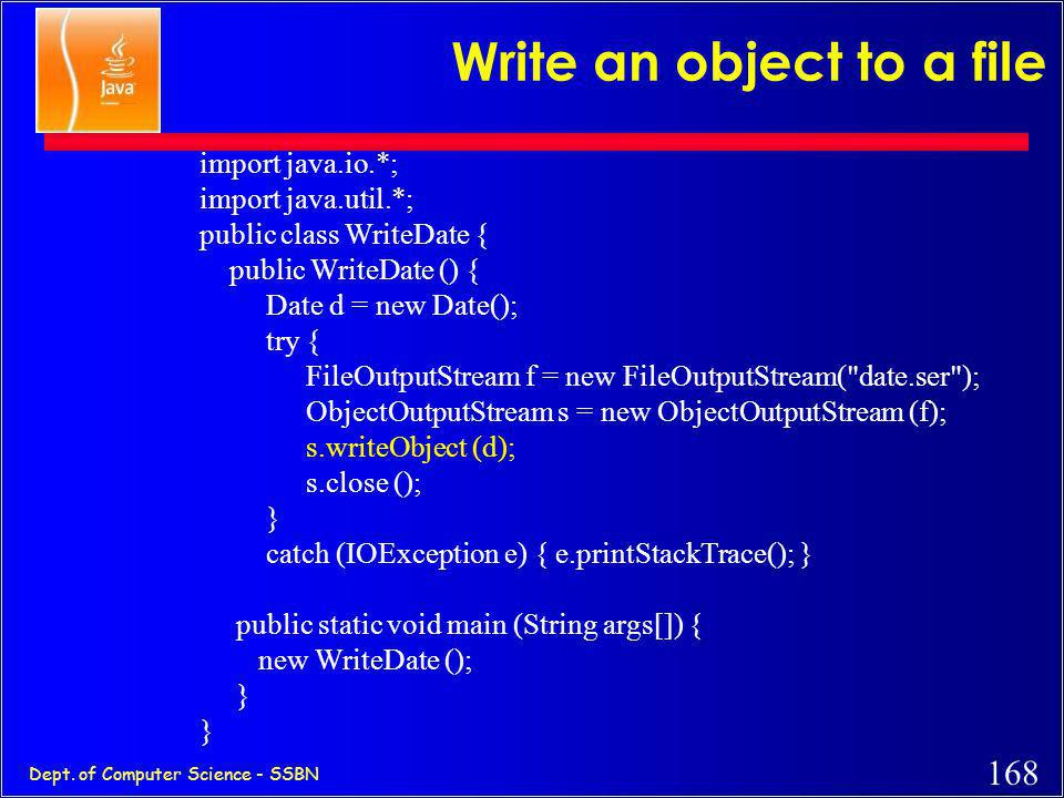 Write an object to a file