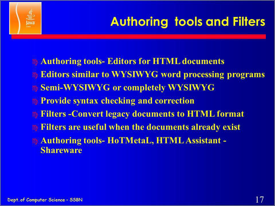 Authoring tools and Filters